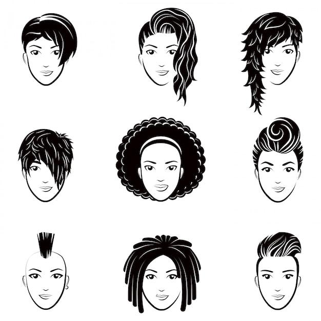 Conjunto de vetores de logotipo estilizado com penteados de mulheres bonitas. moda elegante coleção de penteado na moda. Vetor Premium