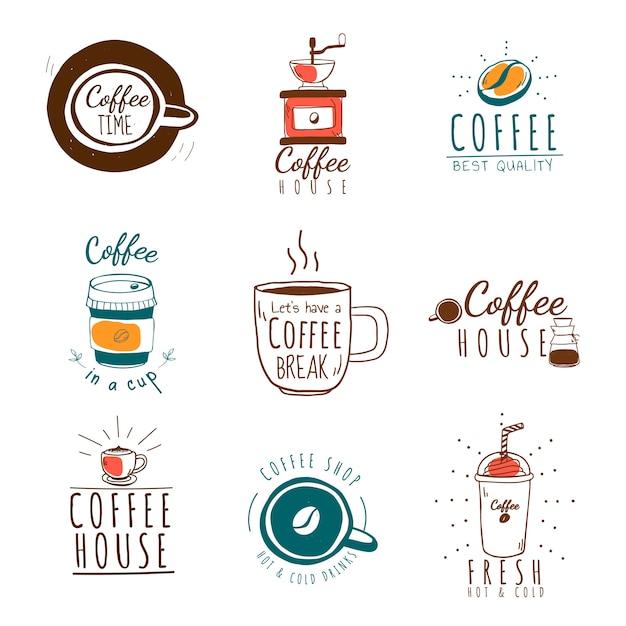 Conjunto de vetores de logotipos de café Vetor grátis