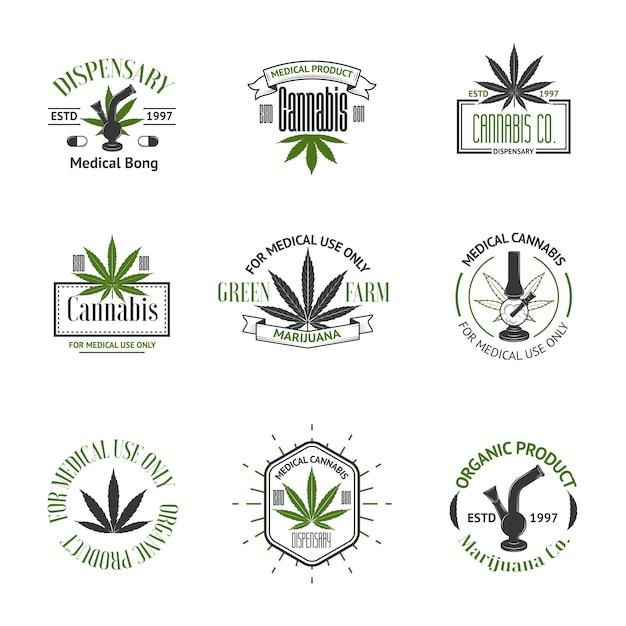 Conjunto de vetores de logotipos de maconha medicinal Vetor Premium