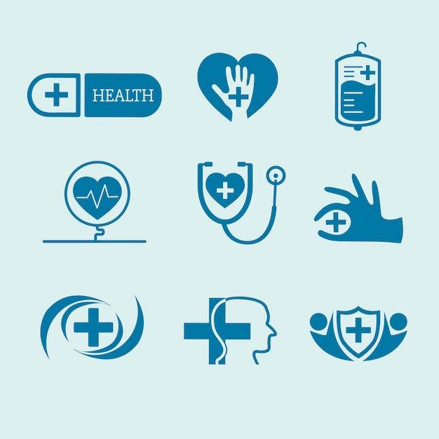 Conjunto de vetores de logotipos de serviço médico Vetor grátis