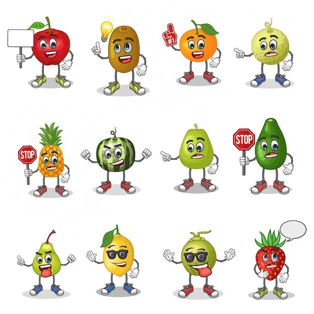 Conjunto de vetores de mascote de desenhos animados de frutas com emoticon Vetor Premium