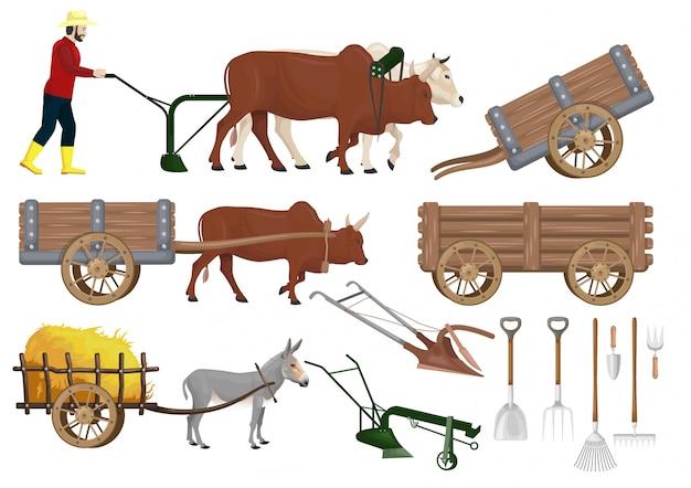 Conjunto de vetores de material de fazenda tradicional Vetor Premium