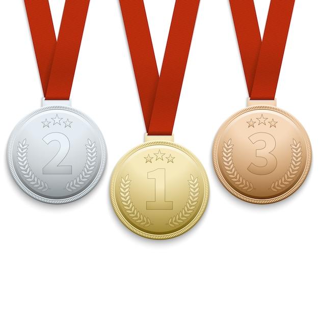 Conjunto de vetores de medalhas de prata e bronze ouro Vetor Premium