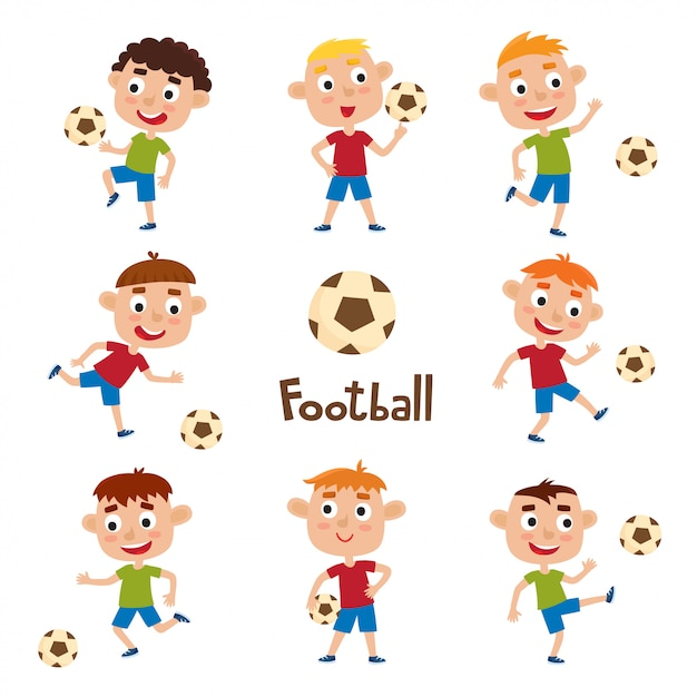 Conjunto de vetores de meninos jogando futebol em estilo cartoon, isolado no branco Vetor Premium