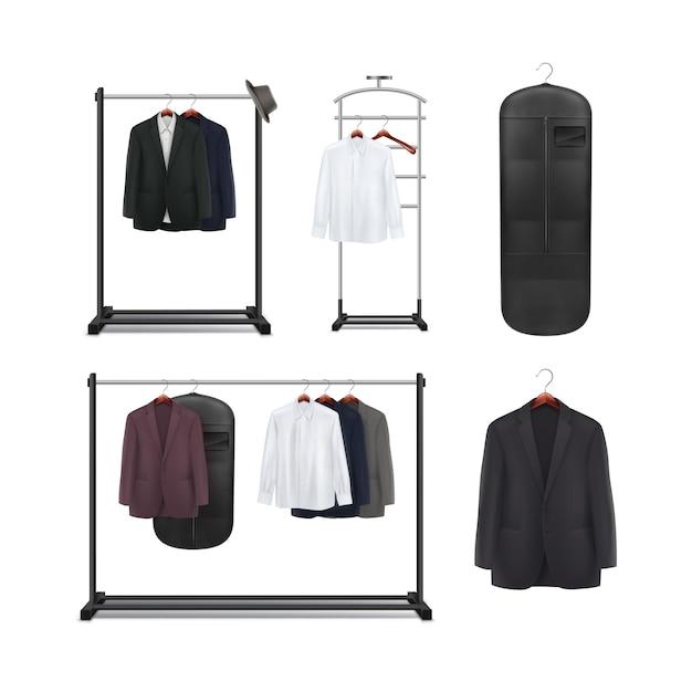 Conjunto de vetores de metal preto, cabideiros de madeira e carrinhos com vista frontal de camisas e jaquetas isolada no fundo branco Vetor grátis