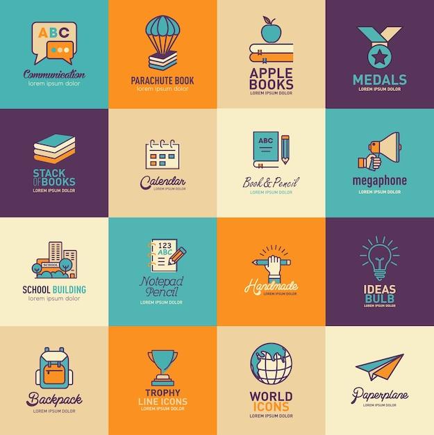 Conjunto de vetores de modelos de logotipos de educação Vetor Premium