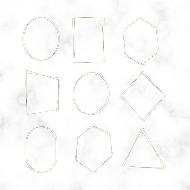 Conjunto de vetores de moldura em branco dourado Vetor grátis