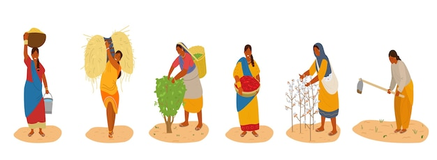 Conjunto de vetores de mulheres índias trabalhando Vetor Premium