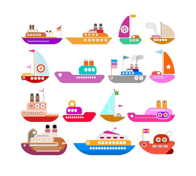 Conjunto de vetores de navio Vetor Premium