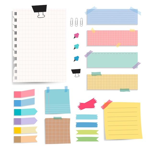Conjunto de vetores de notas de papel em branco colorido Vetor grátis