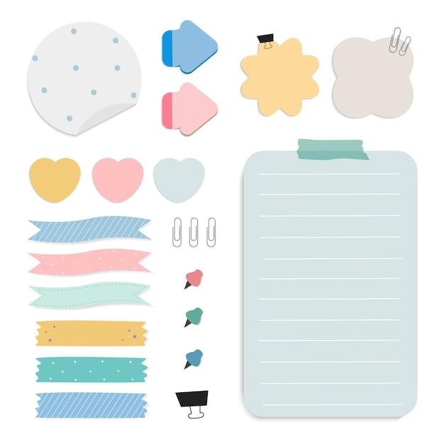Conjunto de vetores de notas de papel lembrete colorido Vetor grátis