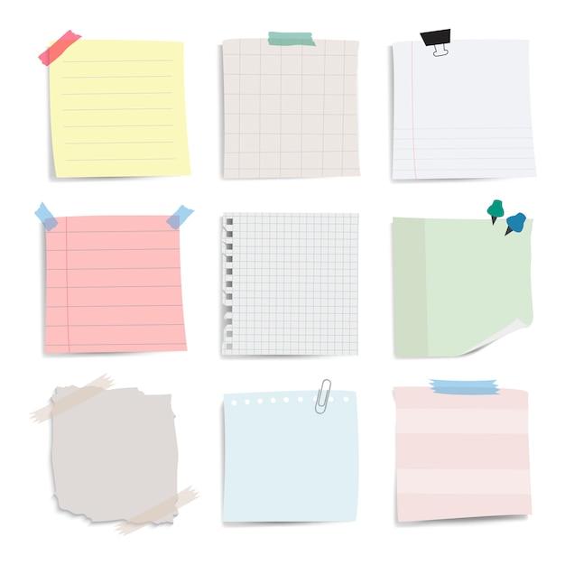 Conjunto de vetores de notas de papel lembrete em branco Vetor grátis