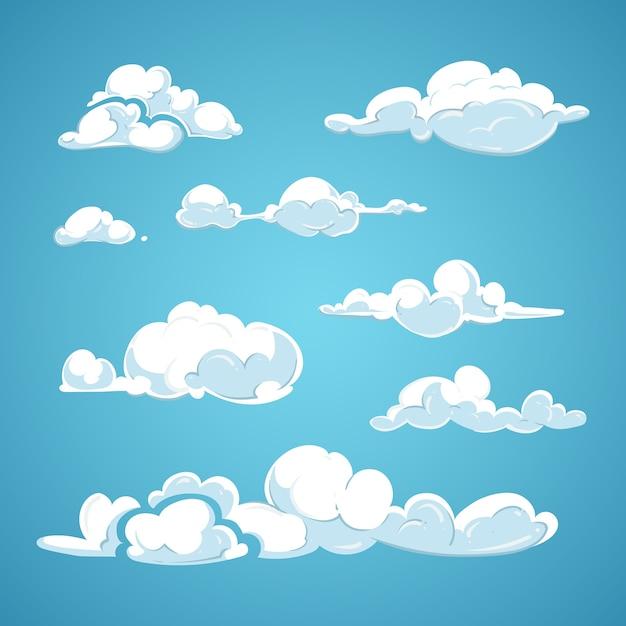 Conjunto de vetores de nuvens dos desenhos animados Vetor Premium