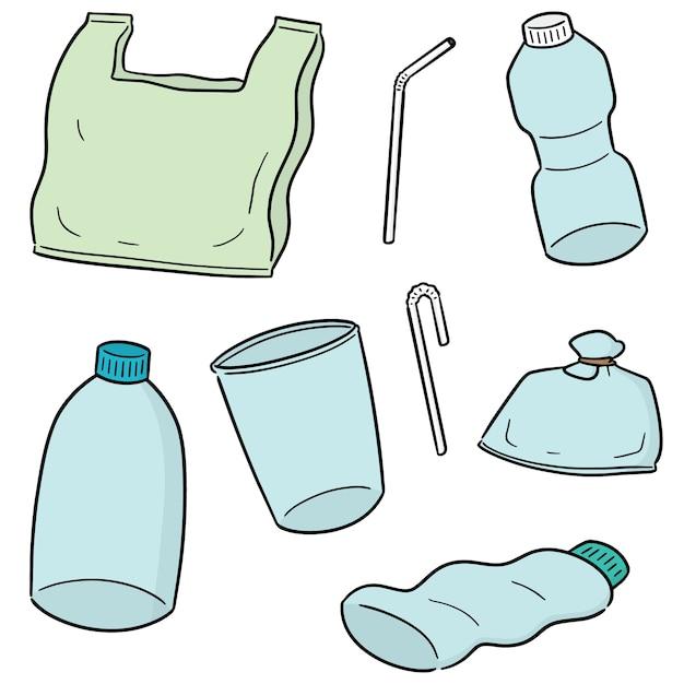Conjunto de vetores de objeto de plástico Vetor Premium
