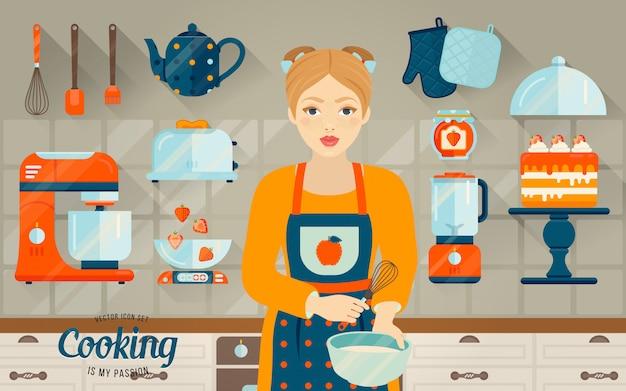 Conjunto de vetores de objetos de cozinha. Vetor Premium