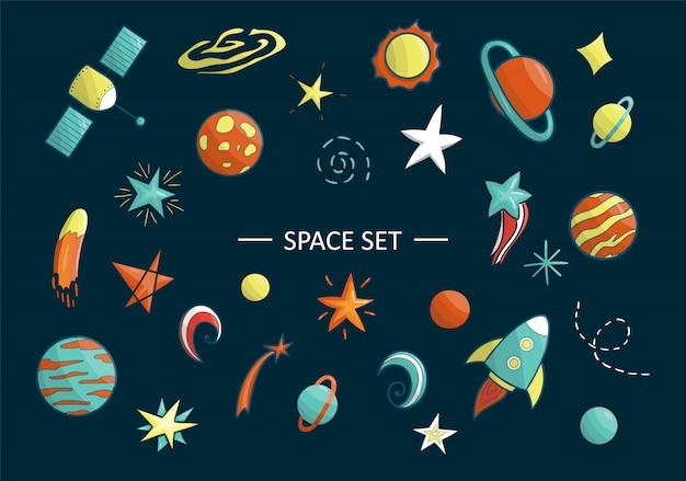 Conjunto de vetores de objetos do espaço. ilustração do espaço clip art. planeta brilhante, foguete, estrela, ufo, galáxia, lua, nave espacial, sol no estilo cartoon Vetor Premium