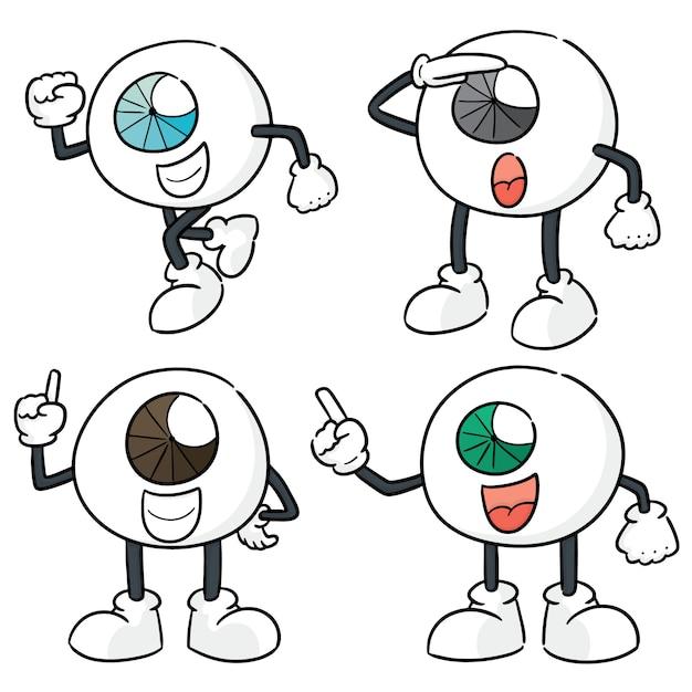 Conjunto de vetores de olho dos desenhos animados Vetor Premium