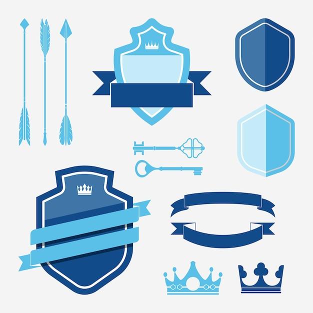 Conjunto de vetores de ornamento de rótulo azul Vetor grátis