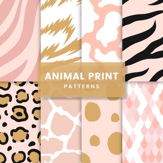 Conjunto de vetores de padrão de impressão animal sem emenda Vetor grátis