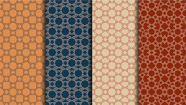 Conjunto de vetores de padrões étnicos sem costura, origens de cores geométricas Vetor Premium