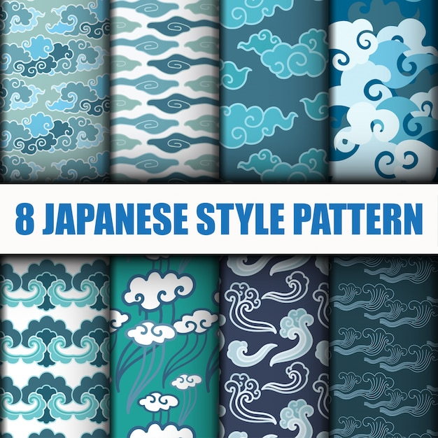 Conjunto de vetores de padrões sem costura japoneses Vetor Premium