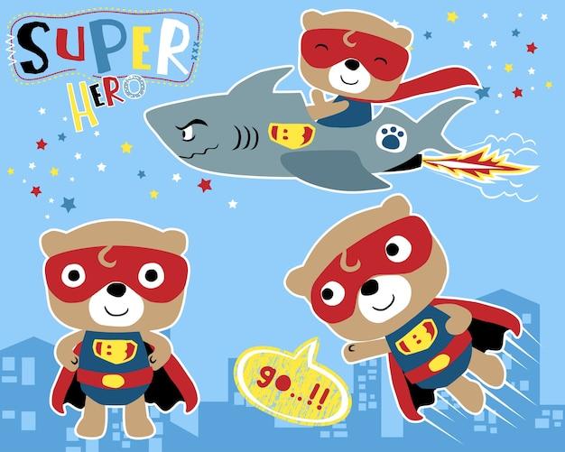 Conjunto de vetores de pequeno desenho animado de super herói Vetor Premium