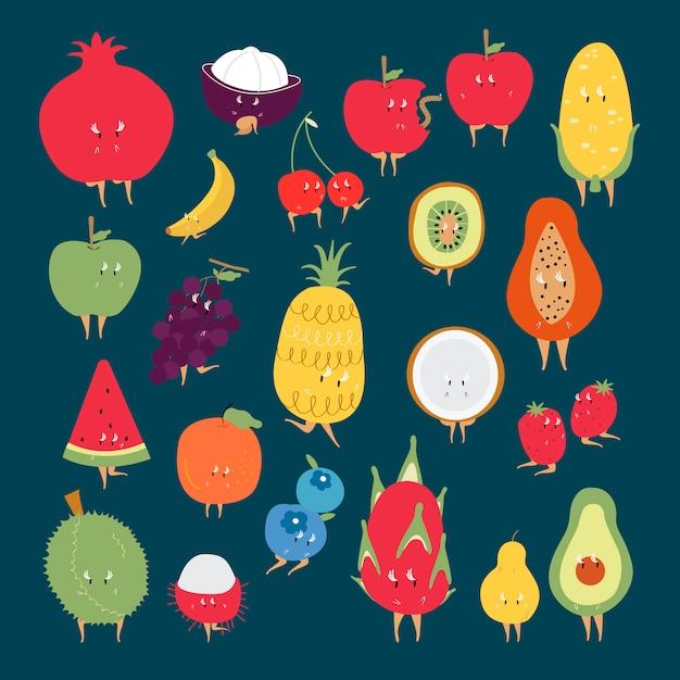 Conjunto de vetores de personagens de desenhos animados de frutas tropicais Vetor grátis