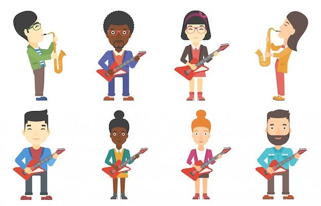 Conjunto de vetores de personagens de músicos. Vetor Premium