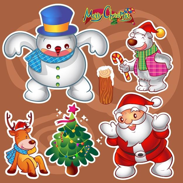 Conjunto de vetores de personagens fofinhos natal colorido e decorações Vetor Premium