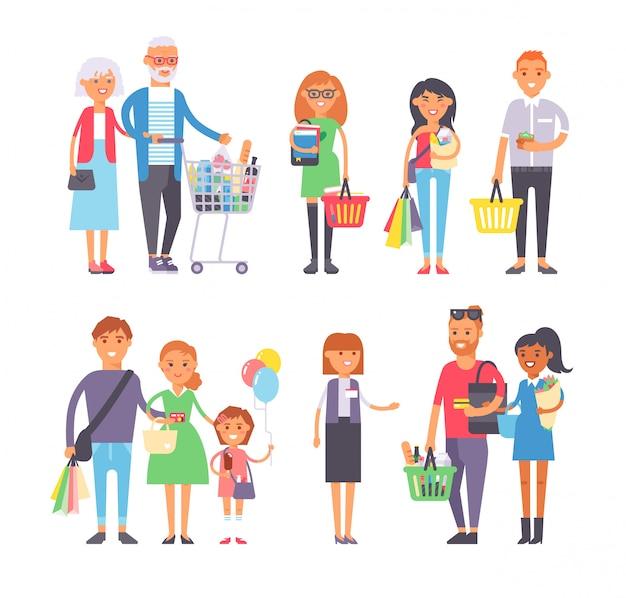 Conjunto de vetores de pessoas compras. Vetor Premium