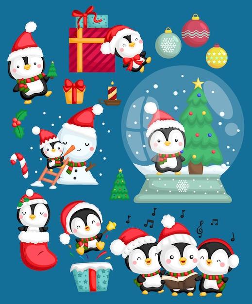 Conjunto de vetores de pinguim santa Vetor Premium