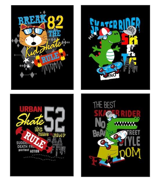 Conjunto de vetores de placa de skate para t-shirt e outro uso Vetor Premium