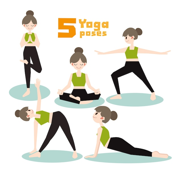 Conjunto de vetores de poses de ioga dos desenhos animados. Vetor Premium