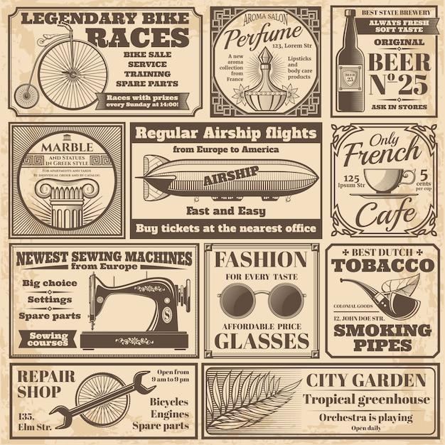 Conjunto de vetores de rótulos de publicidade de jornal vintage Vetor Premium