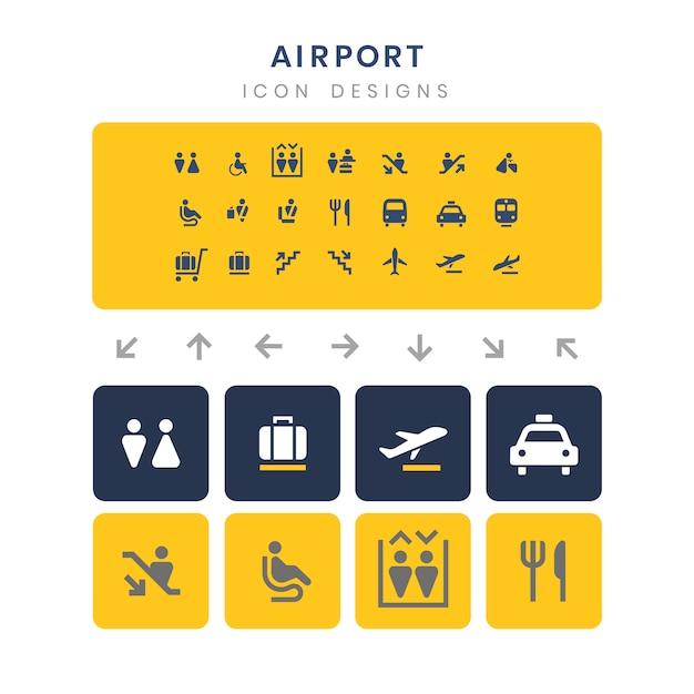 Conjunto de vetores de sinais de serviço de aeroporto Vetor grátis