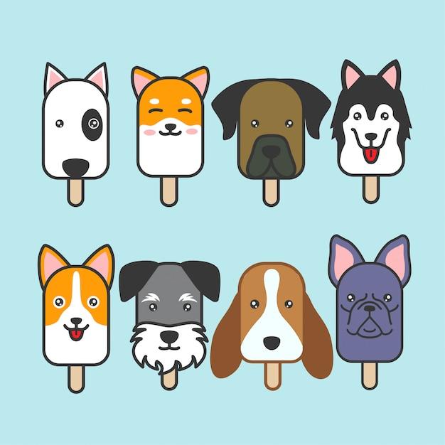Conjunto de vetores de sorvete de cachorro fofo Vetor Premium
