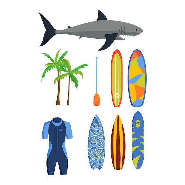 Conjunto de vetores de surf. Vetor Premium