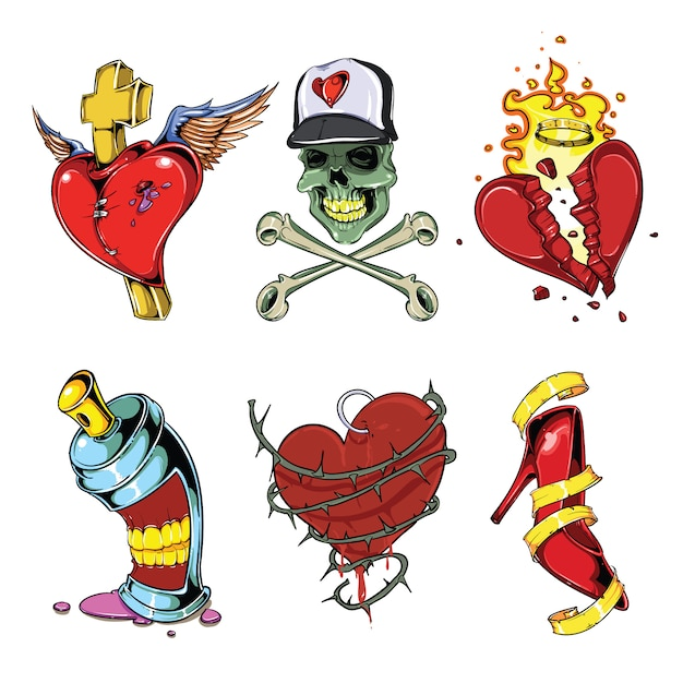Conjunto de vetores de tatuagem Vetor Premium