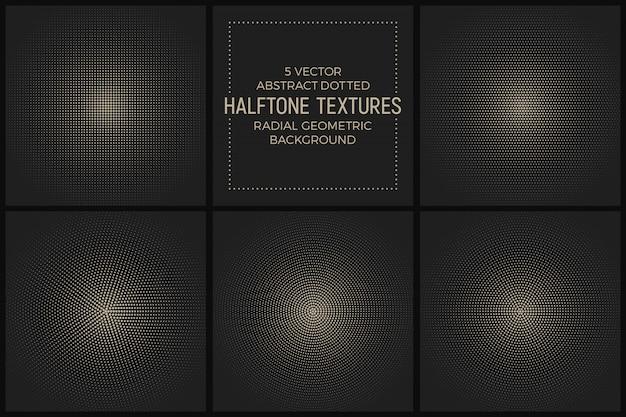 Conjunto de vetores de texturas de meio-tom radial pontilhada Vetor Premium