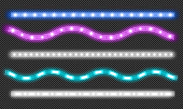 Conjunto de vetores de tiras de led com efeito de luz neon Vetor grátis