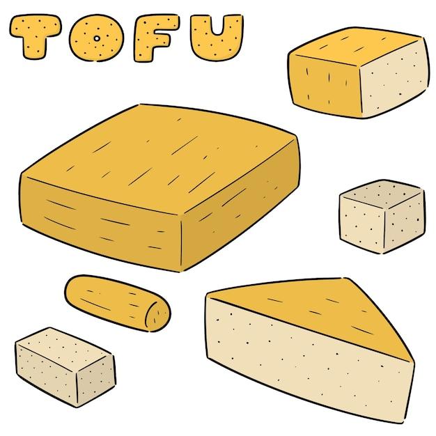 Conjunto de vetores de tofu Vetor Premium