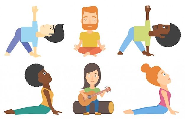 Conjunto de vetores de turistas e pessoas praticando ioga. Vetor Premium