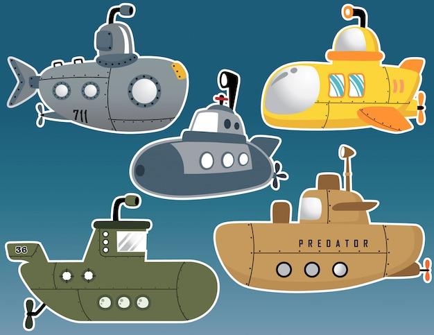 Conjunto de vetores de vários desenhos animados submarino Vetor Premium