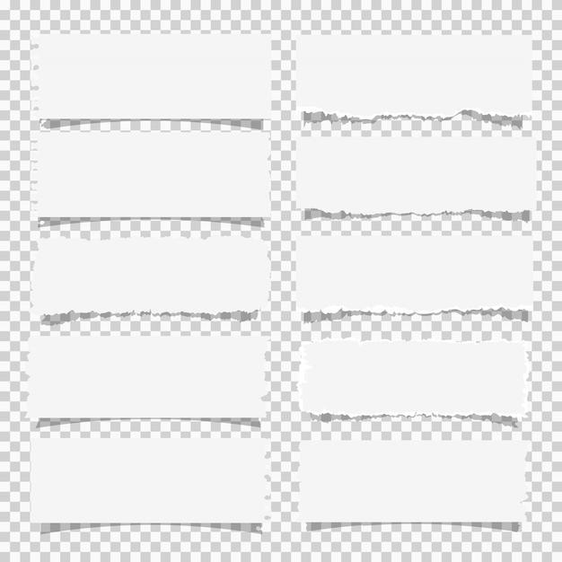 Conjunto de vetores de vários papéis de nota branco, elementos de design Vetor Premium