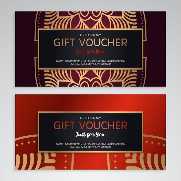 Conjunto de vetores de vouchers de presente vermelho luxo Vetor grátis