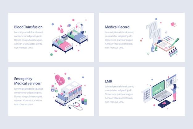 Conjunto de vetores isométricos de saúde Vetor Premium