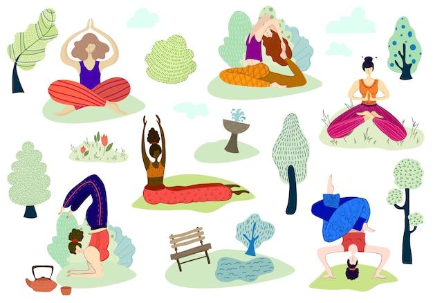 Conjunto de vetores meninas prática yoga no parque ao ar livre Vetor Premium