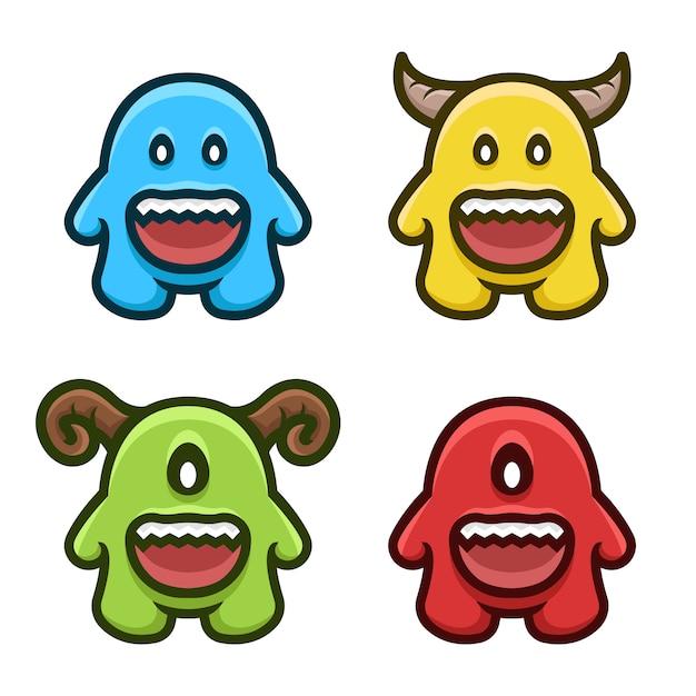 Conjunto de vetores monstro colorido conjunto de logotipo mascote. Vetor Premium