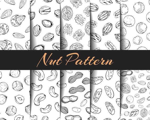 Conjunto de vetores padrões diferentes tipos de nozes. Vetor Premium