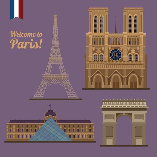 Conjunto de viagem de paris. lugares famosos - torre eiffel, louvre, notre dame, arco do triunfo Vetor Premium